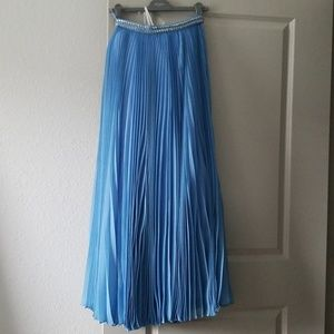 Prada Pleated Maxi Skirt Jewel Crystal Waist